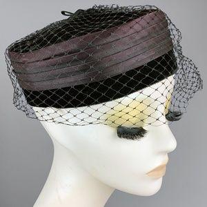 Vintage 1940s Velvet Satin Birdcage Pill Box Hat